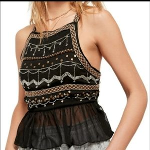 Free People Camille Black Embellished with beads and sequins and mother of pearl